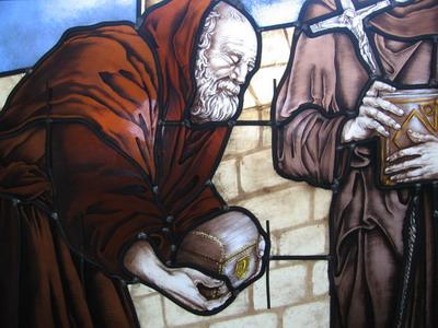Détail sur le vitrail historié de l'eglise saint Rieul de Brenouille- 2006