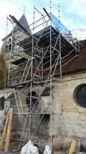 Eglise de Brenouille - Travaux de toiture - échafaudage